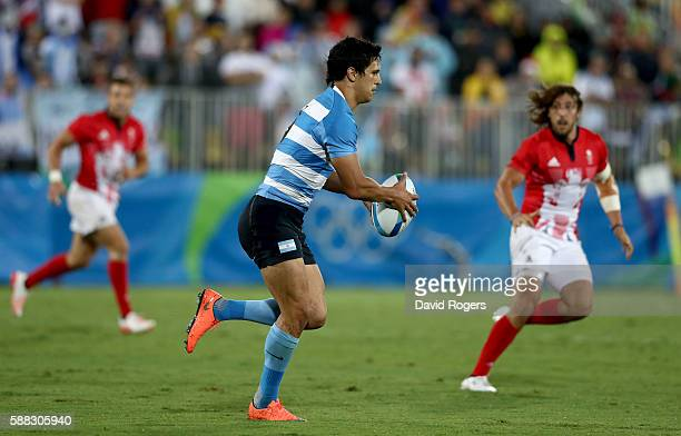 Matias Moroni of Argentina during the Men's Pool A Match 17 between Argentina and Brazil on Day 5 of the Rio 2016 Olympic Games at Deodoro Stadium on...