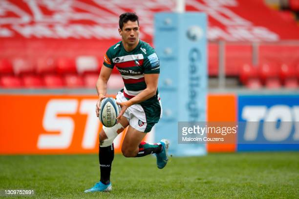 Matias Moroni of Leicestetr Tigers runs with the ball during the Gallagher Premiership Rugby match between Leicester Tigers and Newcastle Falcons at...