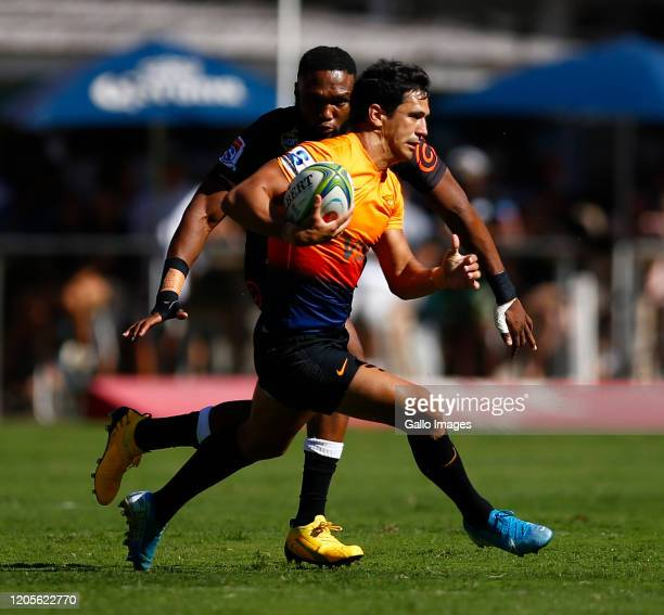Matias Moroni of the Jaguares during the Super Rugby match between Cell C Sharks and Jaguares at Jonsson Kings Park Stadium on March 07, 2020 in...