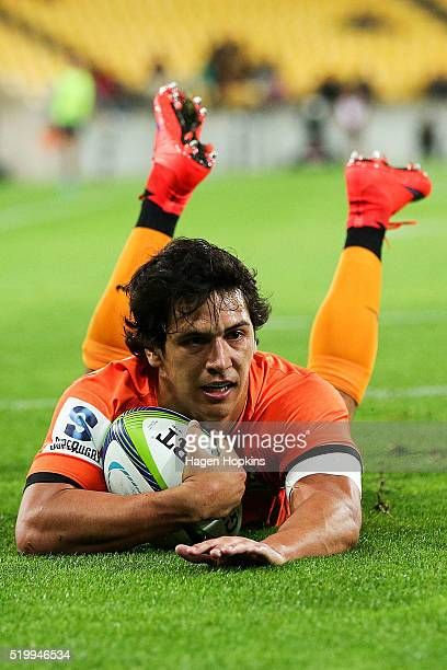 Matias Moroni of the Jaguares scores a try during the round seven Super Rugby match between the Hurricanes and the Jaguares at Westpac Stadium on...