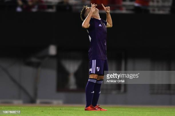 Matias Moya of River Plate celebrates after scores during a match between River Plate and Gimnasia y Esgrima La Plata as part of Superliga 2018/19 at...