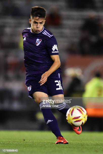 Matias Moya of River Plate kicks the ball during a match between River Plate and Gimnasia y Esgrima La Plata as part of Superliga 2018/19 at Estadio...
