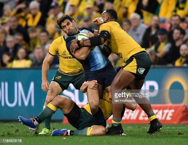Matias Orlando of Argentina is tackled during the 2019 Rugby Championship Test Match between Australia and Argentina at Suncorp Stadium on July 27,...