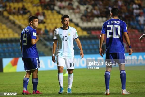 Matias Palacios of Argentina reacts during the FIFA U17 World Cup Brazil 2019 round of 16 match between Paraguay and Argentina at Estadio Kleber...