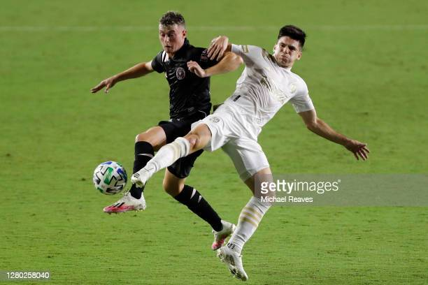Matias Pellegrini of Inter Miami CF and Manuel Castro of Atlanta United battle for control of the ball during the first half at Inter Miami CF...