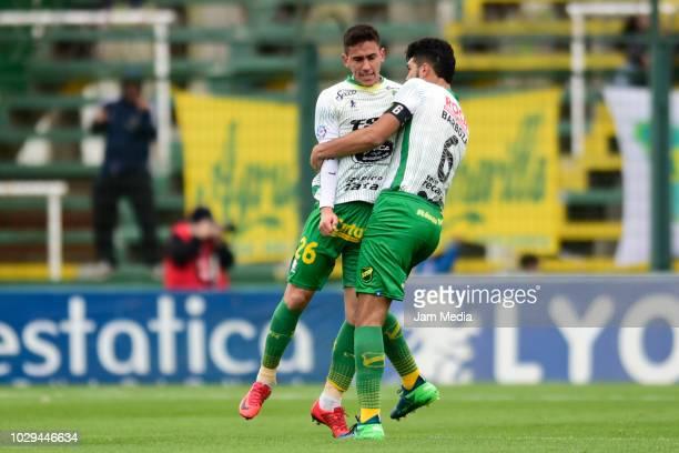 Matias Rojas de Defensa y Justicia celebrate after scoring the equalizer with teammate Alexander Barboza during a match between Defensa y Justicia...