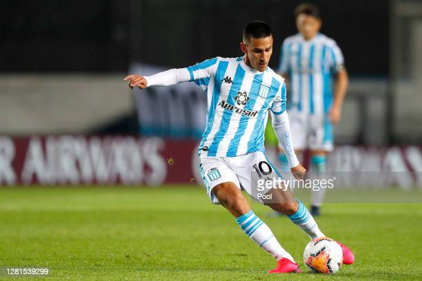 Matias Rojas of Racing Club makes a free kick to score the second goal of his team during a Group F match of Copa CONMEBOL Libertadores 2020 between...