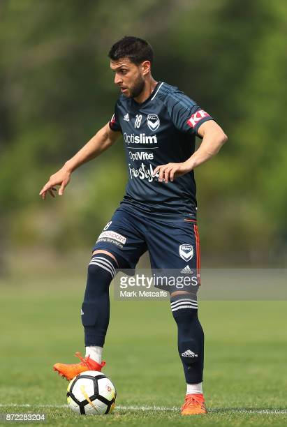Matias Sanchez controls the ball during a Melbourne Victory ALeague training session at Gosch's Paddock on November 10 2017 in Melbourne Australia