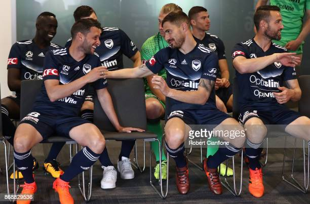 Matias Sanchez of the Victory and James Troisi of the Victory talk during a Melbourne Victory ALeague portrait session on November 1 2017 in...
