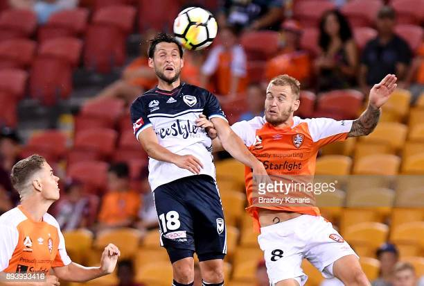 Matias Sanchez of the Victory gets above Jacob Pepper of the Roar during the round 11 ALeague match between the Brisbane Roar and the Melbourne...