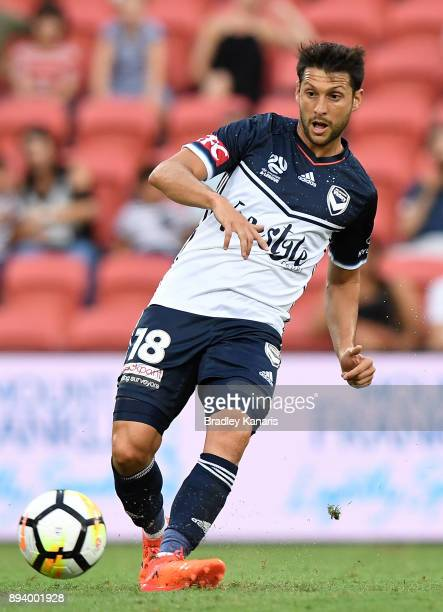 Matias Sanchez of the Victory in action during the round 11 ALeague match between the Brisbane Roar and the Melbourne Victory at Suncorp Stadium on...
