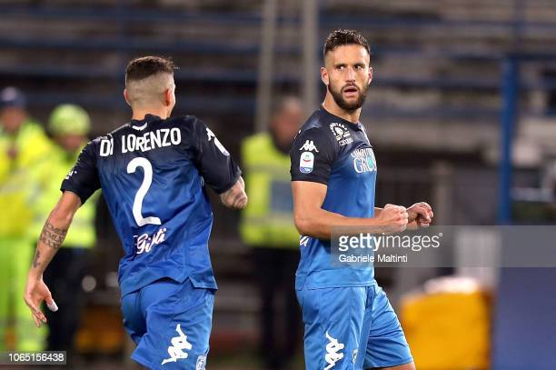 Matias Silvestre and Giovanni Di Lorenzo of Empoli FC celebrate the victory during the Serie A match between Empoli and Atalanta BC at Stadio Carlo...