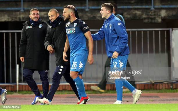 Matias Silvestre of Empoli FC celebrates after scoring a goal during the Serie A match between Empoli and Atalanta BC at Stadio Carlo Castellani on...