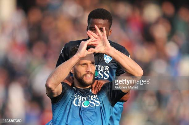 Matias Silvestre of Empoli FC celebrates after scoring a goal during the Serie A match between Empoli and Parma Calcio at Stadio Carlo Castellani on...