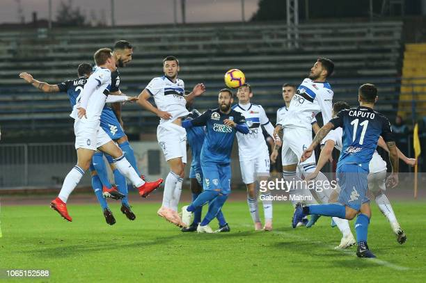 Matias Silvestre of Empoli FC scores a goal during the Serie A match between Empoli and Atalanta BC at Stadio Carlo Castellani on November 25 2018 in...
