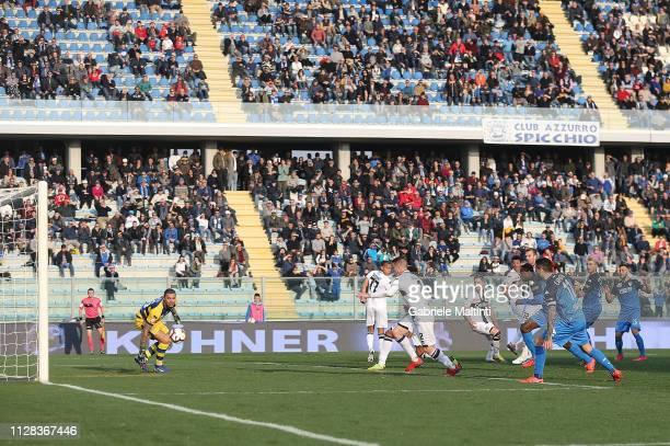 Matias Silvestre of Empoli FC scores a goal during the Serie A match between Empoli and Parma Calcio at Stadio Carlo Castellani on March 2 2019 in...