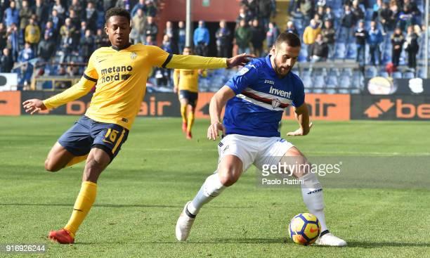 Matias Silvestre of Sampdoria and Rolando Aarons of Hellas Verona during the serie A match between UC Sampdoria and Hellas Verona FC at Stadio Luigi...