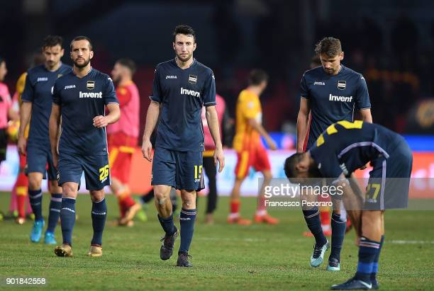 Matias Silvestre Vasco Regini Gaston Ramirez players of UC Sampdoria show their disappointment after the serie A match between Benevento Calcio and...
