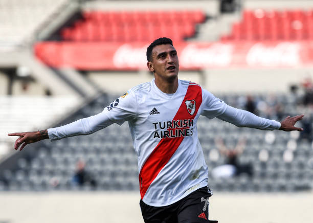 Matias Suarez of River Plate celebrates after scoring the fourth goal of his team during a match between River Plate and Aldosivi as part of Copa de...