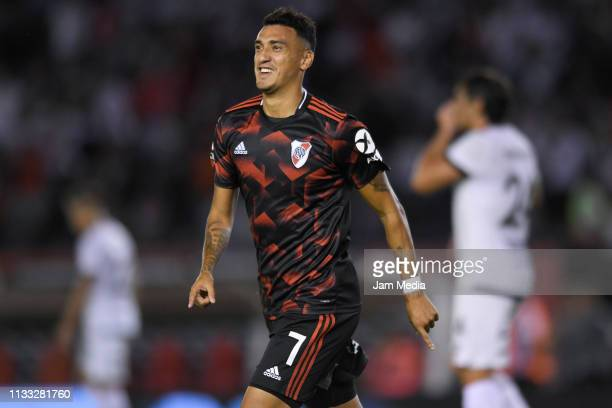 Matias Suarez of River Plate celebrates after scoring the second goal of his team during a match between River Plate and Newell's Old Boys as part of...