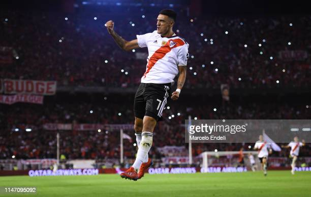 Matias Suarez of River Plate celebrates after scoring the third goal of his team during the second leg match of the final of the CONMEBOL Recopa...