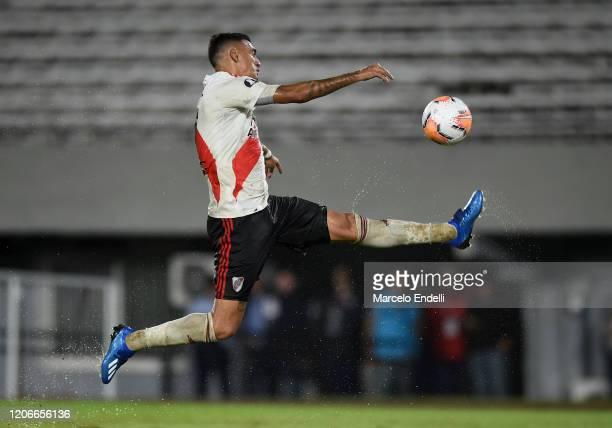 Matias Suarez of River Plate kicks the ball during a Group D match between River Plate and Deportivo Binacional as part of Copa CONMEBOL Libertadores...