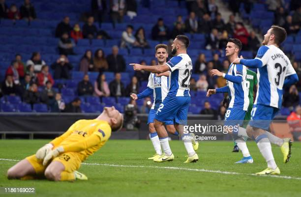 Matias Vargas of Espanyol celebrates after he scores his team's third goal from the penalty spot during the UEFA Europa League group H match between...