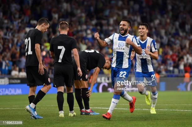 Matias Vargas of Espanyol celebrates after scoring his team's third goal during the UEFA Europa League Play Off match between Espanyol and Zoryan...