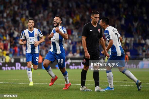 Matias Vargas of Espanyol celebrates after scoring his team's third goal during the UEFA Europa League Play Off match between Espanyol and Zoryan...