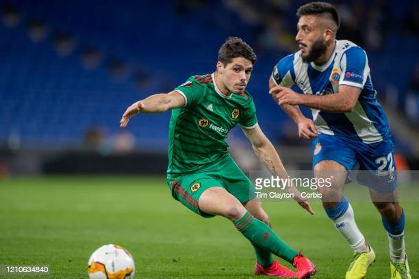 Matias Vargas of Espanyol defended by Pedro Neto of Wolverhampton Wanderers during the Espanyol V Wolverhampton Wanderers UEFA Europa League round of...