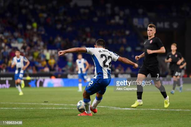 Matias Vargas of Espanyol scores his team's third goal during the UEFA Europa League Play Off match between Espanyol and Zoryan Luhansk at RCDE...