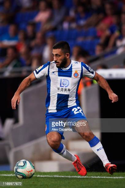 Matias Vargas of RCD Espanyol controls the ball during the UEFA Europa League Play Off match between Espanyol and Zoryan Luhansk at RCDE Stadium on...
