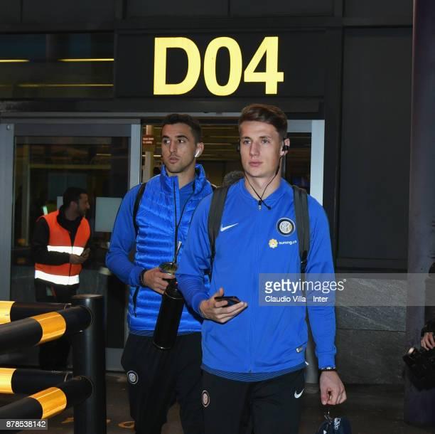 Matias Vecino and Andrea Pinamonti of FC Internazionale depart to Cagliari on November 24 2017 in Como Italy