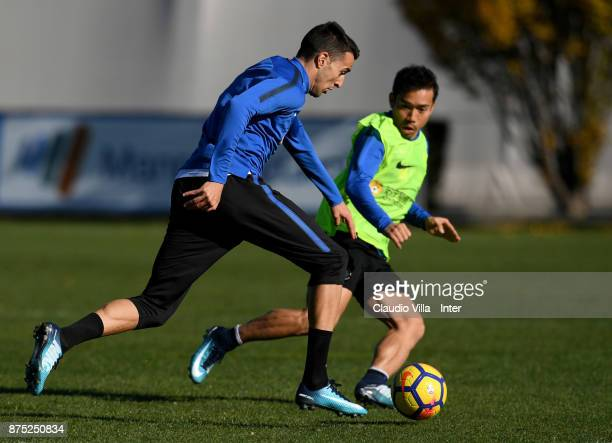 Matias Vecino and Yuto Nagatomo of FC Internazionale compete for the ball during the FC Internazionale training session at Suning Training Center at...