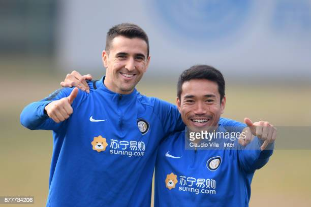 Matias Vecino and Yuto Nagatomo of FC Internazionale pose for a photo during the FC Internazionale training session at Suning Training Center at...