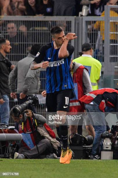 Matias Vecino celebrates after scoring a goal 32 during the Italian Serie A football match between SS Lazio and FC Inter at the Olympic Stadium in...