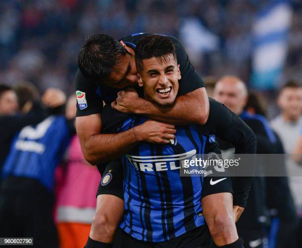 Matias Vecino celebrates the victory after the Italian Serie A football match between SS Lazio and FC Inter at the Olympic Stadium in Rome on may 20...