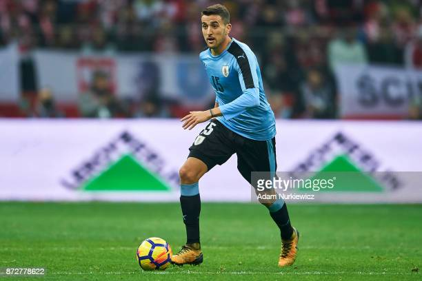 Matias Vecino from Uruguay controls the ball while Poland v Uruguay International Friendly soccer match at National Stadium on November 10 2017 in...