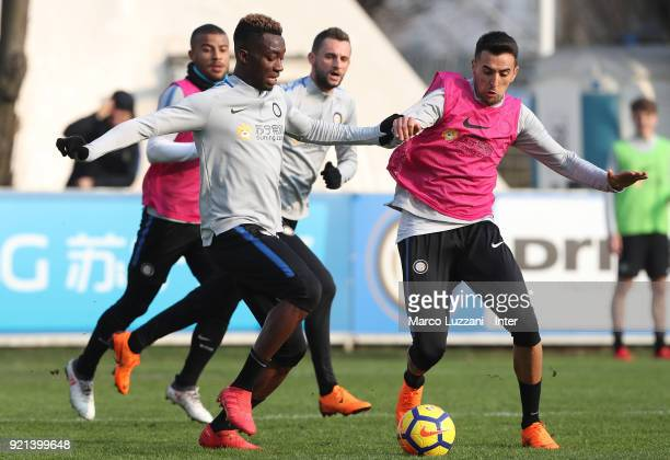 Matias Vecino is challenged by Yann Karamoh during the FC Internazionale training session at the club's training ground Suning Training Center in...