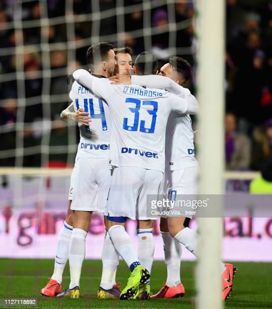 Matias Vecino of FC Internazionale celebrates after scoring the first goal during the Serie A match between ACF Fiorentina and FC Internazionale at...
