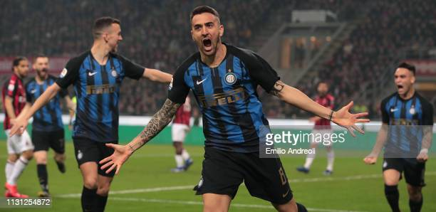 Matias Vecino of FC Internazionale celebrates after scoring the opening goal during the Serie A match between AC Milan and FC Internazionale at...