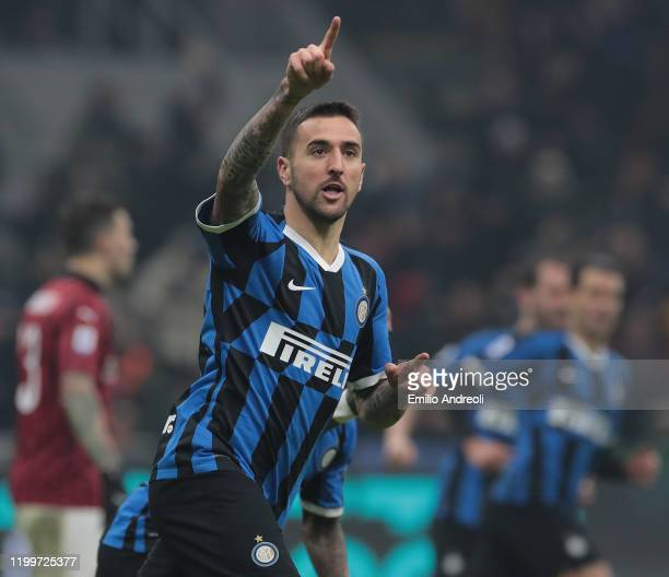 Matias Vecino of FC Internazionale celebrates his goal during the Serie A match between FC Internazionale and AC Milan at Stadio Giuseppe Meazza on...