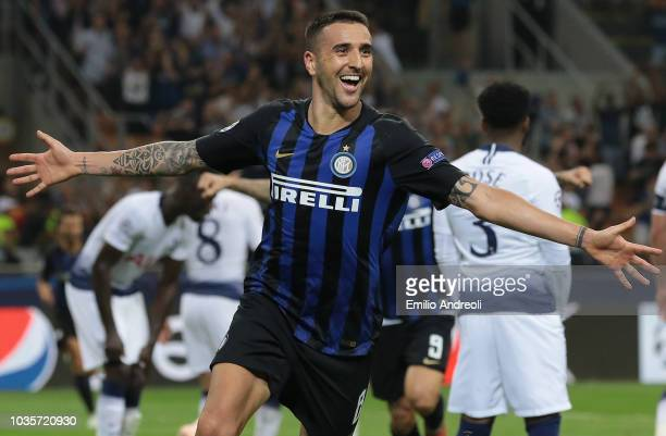 Matias Vecino of FC Internazionale celebrates his goal during the Group B match of the UEFA Champions League between FC Internazionale and Tottenham...