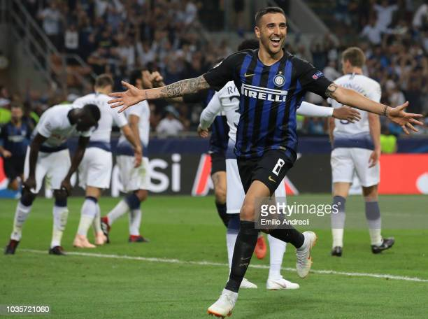 Matias Vecino of FC Internazionale celebrates during the Group B match of the UEFA Champions League between FC Internazionale and Tottenham Hotspur...