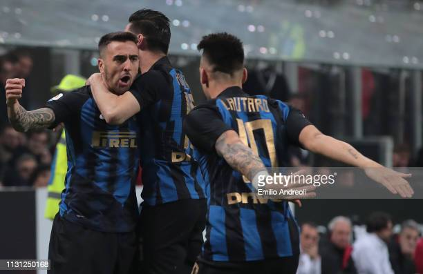 Matias Vecino of FC Internazionale celebrates with his teammates after scoring the opening goal during the Serie A match between AC Milan and FC...