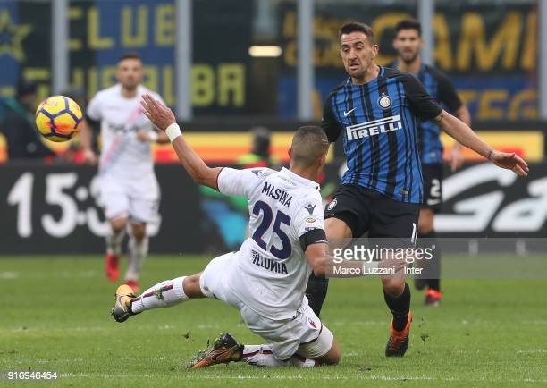 Matias Vecino of FC Internazionale competes for the ball with Adam Masina of Bologna FC during the serie A match between FC Internazionale and...