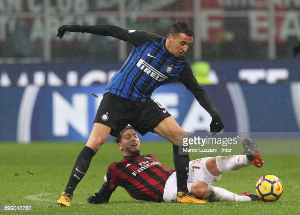 Matias Vecino of FC Internazionale competes for the ball with Alessio Romagnoli of AC Milan during the TIM Cup match between AC Milan and FC...