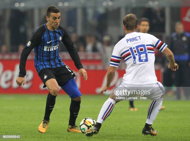 Matias Vecino of FC Internazionale competes for the ball with Dennis Praet of UC Sampdoria during the Serie A match between FC Internazionale and UC...