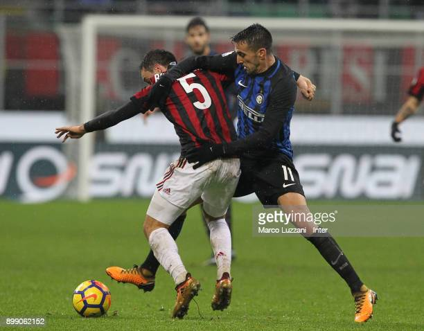 Matias Vecino of FC Internazionale competes for the ball with Giacomo Bonaventura of AC Milan during the TIM Cup match between AC Milan and FC...