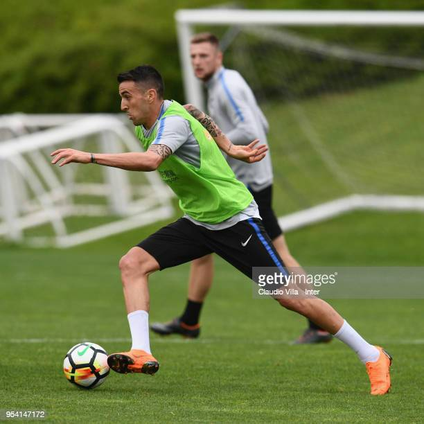 Matias Vecino of FC Internazionale in action during the FC Internazionale training session at the club's training ground Suning Training Center in...